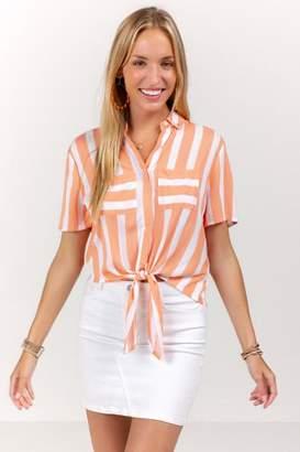 francesca's Liv Striped Front Tie Button Down Top - Living Coral