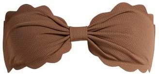 Marysia - Antibes Scallop Edged Bandeau Bikini Top - Womens - Brown