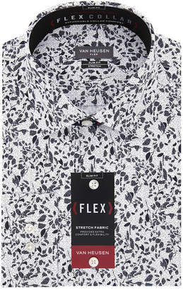 Van Heusen Flex Collar Extra Slim Fit Long Sleeve Twill Floral Dress Shirt - Super Slim