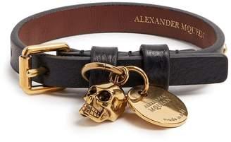 Alexander McQueen Skull-charm leather bracelet