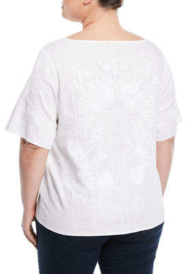 Neiman Marcus Plus Embroidered Boat-Neck Blouse