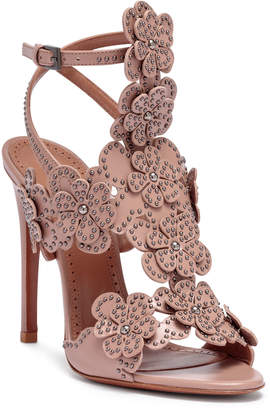 Alaia Beige leather floral sandals