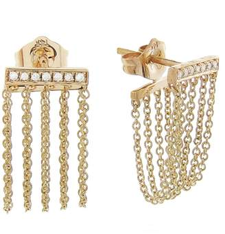 Sydney Evan Bar Chain Earrings - Yellow Gold