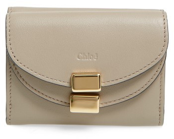 Chloé Women's Chloe Mini Georgia Calfskin Trifold Wallet - Pink