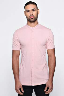 boohoo Muscle Fit Short Sleeve Grandad Jersey Shirt