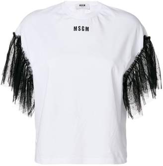 MSGM contrast lace sleeves T-shirt