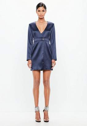 Missguided Navy Bonded Satin Wrap Mini Dress