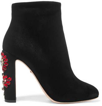 Dolce & Gabbana - Crystal-embellished Suede Ankle Boots - Black $1,445 thestylecure.com