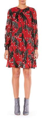 Carolina Herrera Long-Sleeve Metallic Wildcat Print Chiffon Cocktail Dress