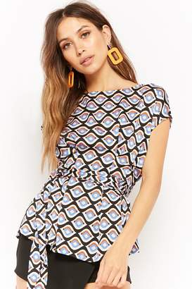 Forever 21 Abstract Tie-Front Tunic