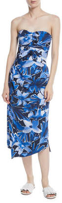 Michael Kors Strapless Tie-Waist Floral-Print Draped Silk Dress