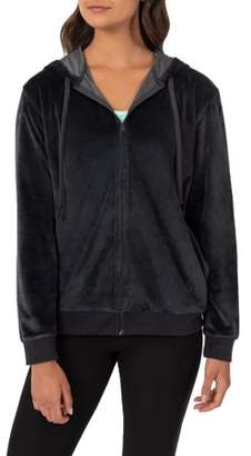 Athletic Works Women's Essential Velour Track Jacket with Hood and Pockets