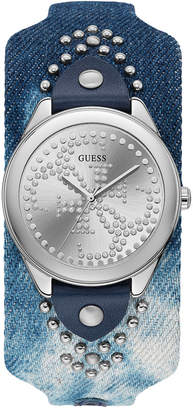 GUESS Women Blue Leather Cuff Strap Watch 36.5mm