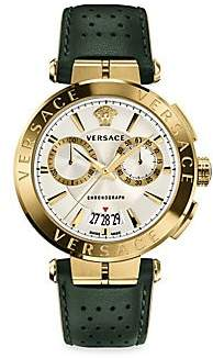 Versace Men's Aion Chrono Goldplated & Leather Strap Watch