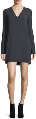 Helmut Lang Long-Sleeve Ponte V-Neck Mini Dress, Charcoal