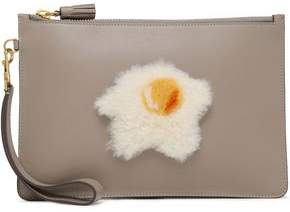 Anya Hindmarch Shearling-appliqued Leather Clutch