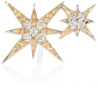 Sydney Evan Double Starburst 14kt gold earring