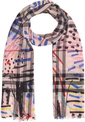 Burberry Graffiti Print Check Wool Silk Scarf