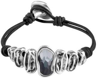 Uno de 50 Scales Swarovski Crystal Accented Leather Bracelet
