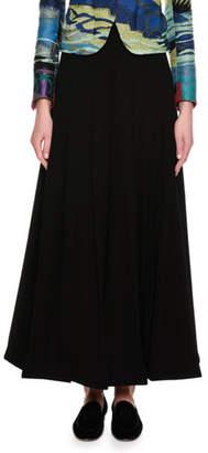 Giorgio Armani Box-Pleated Wide-Leg Fashion Pants, Black