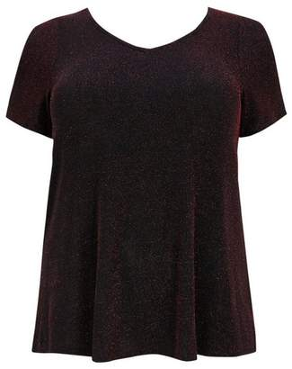 Evans Red Sparkle Split Sleeve Top