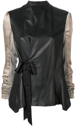 Rick Owens contrast sleeve leather jacket