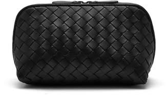 Intrecciato zip-around leather make-up bag