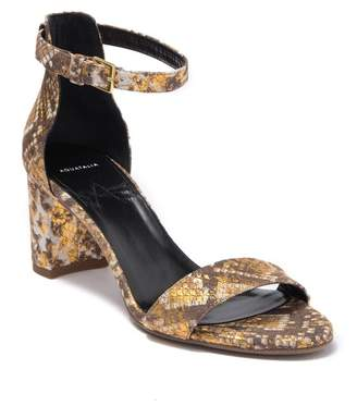Aquatalia Selena Snake Embossed Strap Block Heel Sandal