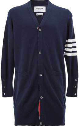 Thom Browne Long V-Neck Cardigan With White 4-Bar Stripe In Cashmere