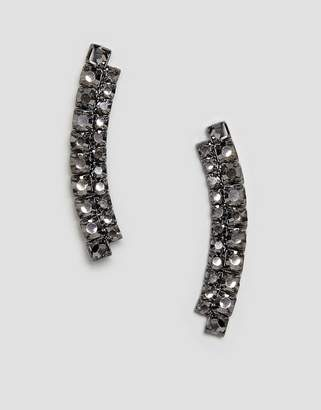 Asos DESIGN earrings in double row crystal bar design