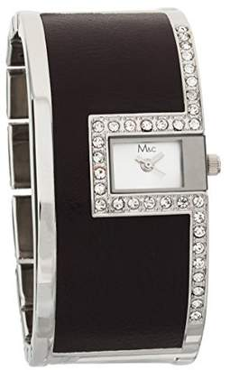 MC M&c Women's Stylish PU Leather & Silver-tone CZ Self-Adjustable Links Watch