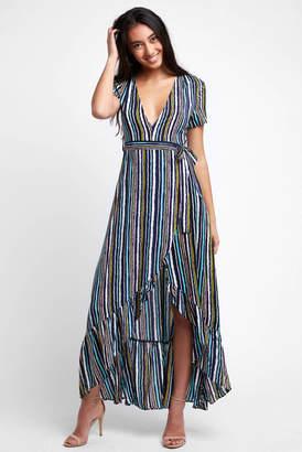 19 Palms Short Sleeve Stripe Print V Neck Maxi