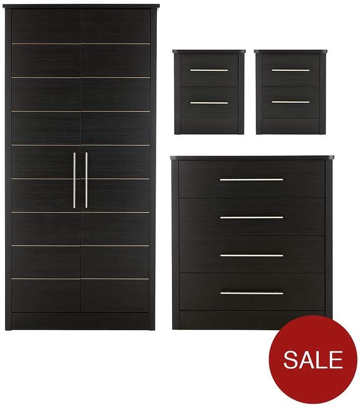 Liberty 4-Piece Package - 2 Door Wardrobe, 4 Drawer Chest And 2 Bedside Cabinets