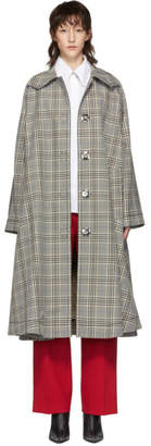 MM6 MAISON MARGIELA Beige and Black Oversized Check Coat