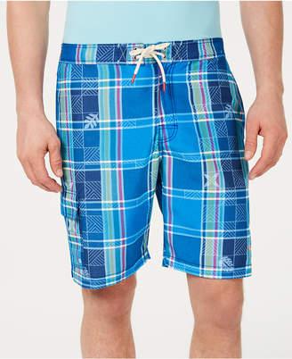 "Tommy Bahama Men Baja Madras On My Mind Tropical Plaid 9"" Board Shorts"