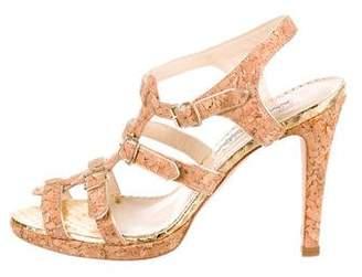 Oscar de la Renta Cork Ankle Strap Sandals