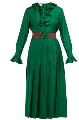 Gucci Ruffle Trimmed Pleated Silk Twill Dress - Womens - Green