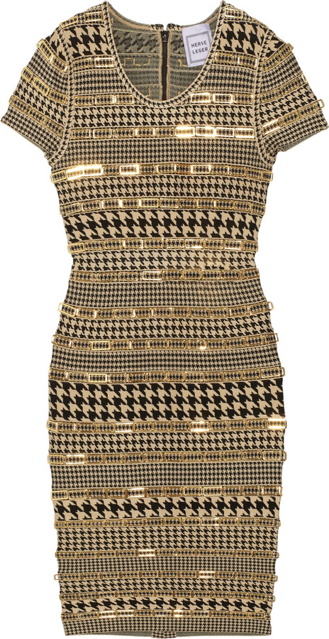Hervé Léger Embellished houndstooth bandage dress