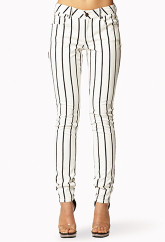 Forever 21 Vertically Striped Skinny Jeans