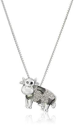 Sterling and Diamond Accent Cow Pendant Necklace