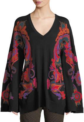 Etro V-Neck Paisley-Intarsia Tie-Back Sweater