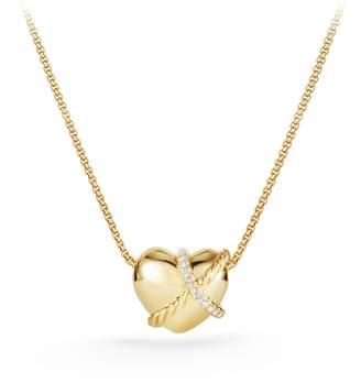 David Yurman Heart Pendant Necklace in 18K Gold with Diamonds