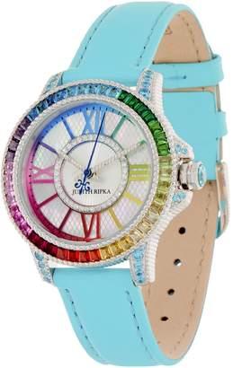 Judith Ripka Stainless Steel Rainbow Diamonique Watch