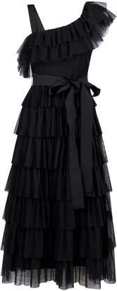 RED Valentino Asymmetric Tiered Ruffle Dress