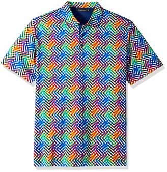 Bugatchi Men's Soft Finish Trim Fit Diagonal Printed Polo Shirt
