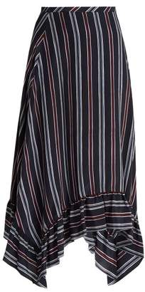 See by Chloe Bias Cut Striped Silk Midi Skirt - Womens - Navy