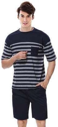5c8840887c5 QianXiu Men s Summer Sleepwear Short Sleeve Striped Cotton Shorts and Top  Pajama Set