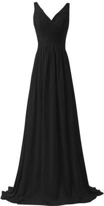 MaliaDress Women Floor Length Chiffon Evening Bridesmaid Dress Prom Gown M015LF US