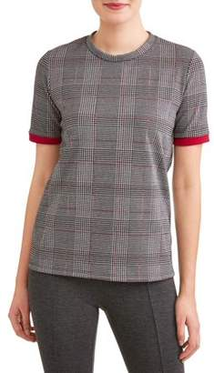 Thyme + Honey Women's Short Sleeve Menswear Plaid T-Shirt