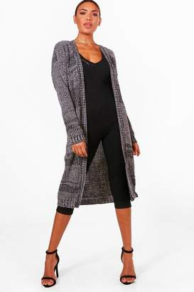 boohoo Marl Long Edge to Edge Maxi Cardigan